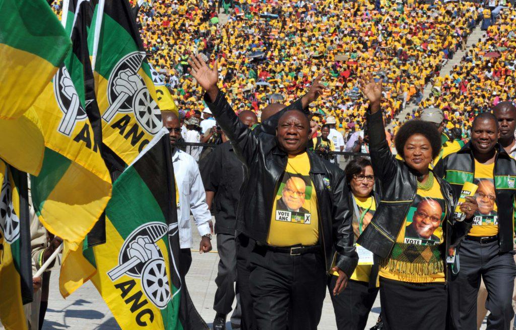 (ANC Deputy President Cyri Ramaphosa, ANC Chairperson Baleka Mbete, ANC Deputy Secretary General Jessie Duarte and ANC Treasurer General Zweli Mkhize arrive at the start of the Siyanqoba Rally) ANC Siyanqob Rally held at the FNB Stadium, Gauteng. 04/05/2014. (rights free Media handouts photos)