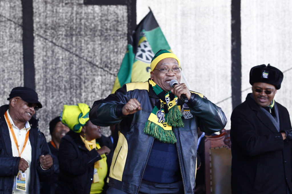 South African President Jacob Zuma (C) addresses supporters during the African National Congress (ANC) party rally at the Dan Qeqe stadium in Port Elizabeth, on July 23, 2016 ahead of the municipal elections on August 3.  / AFP / MICHAEL SHEEHAN        (Photo credit should read MICHAEL SHEEHAN/AFP/Getty Images)
